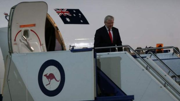 Prime Minister Kevin Rudd returned to Canberra on Saturday for a briefing on the situation in Syria.