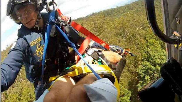 Careflight Rescue chopper winches man to safety
