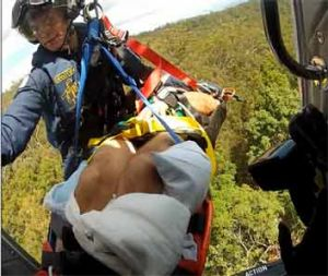 Injured man winched to safety by Careflight chopper