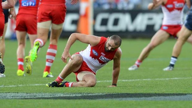Swan Rhyce Shaw injures his leg during the first quarter of the game against the Cats.