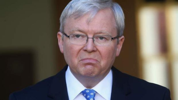 Prime Minister Kevin Rudd during a press conference at Parliament House on Sunday.
