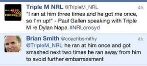 Brian Smith's reply to the Triple M tweet.