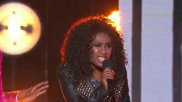 Not enjoying the performance ... Adira-belle perform on <i>The X Factor</i> elimination.