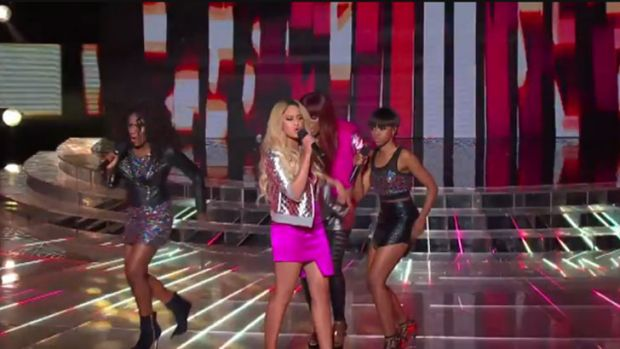 Messy ... Adira-belle perform on <i>The X Factor</i> elimination.