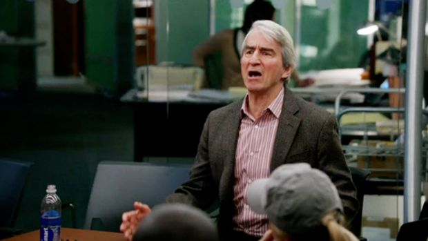 Charlie stomps out a team brush fire. He believes 60% of what he said. <i>The Newsroom</i>