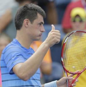 """I'm very, very happy with myself and the way I played today"": Bernard Tomic."