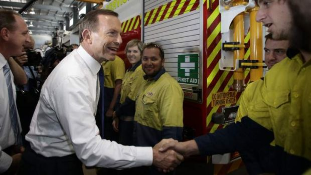 Attempt to cut long term unemployment: Tony Abbott visits a manufacturing business in Narangba to propose the ...