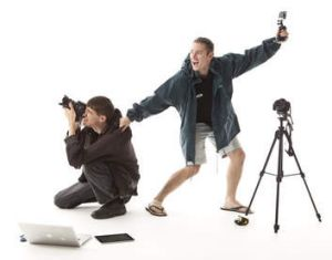 Lights, camera, action … Aussie storm chasers Daniel Schummy (left) and Justin Noonan.
