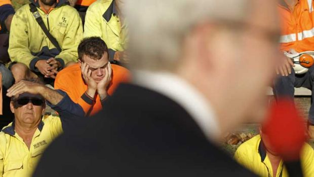 Kevin Rudd gets a mixed reaction from his audience.