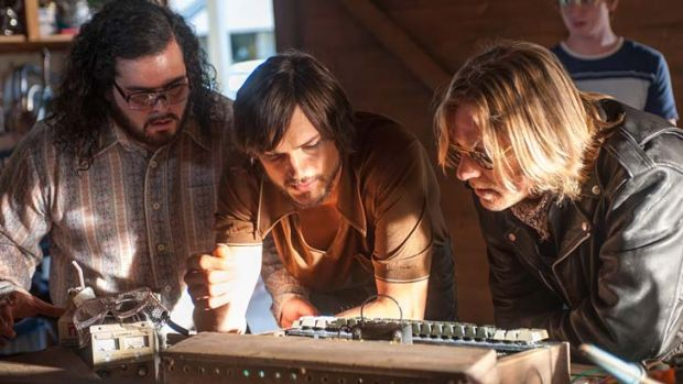 Steve Wozniak (Josh Gad) and Steve Jobs (Ashton Kutcher) at work in <i>Jobs</i>.
