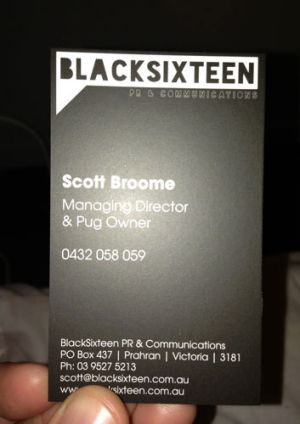 Scott Broome from BlackSixteen's business card