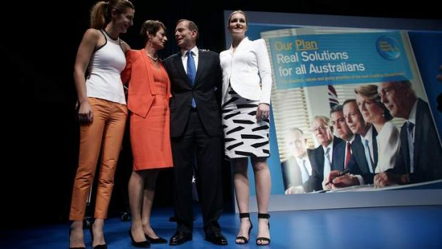 Tony Abbott with wife Margie and daughters Frances, left, and Bridget, right.