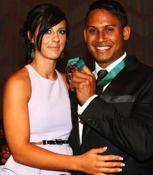 With Currie after winning the Dally M Medal last year.