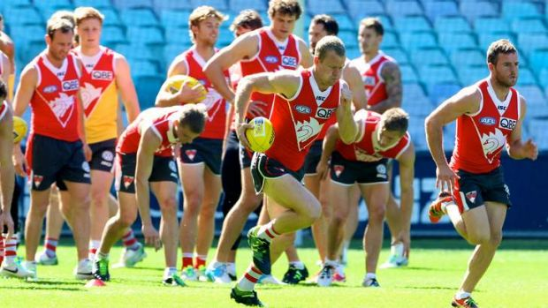 Not about to give up: Ryan O'Keefe and Sydney Swans train hard on Wednesday.