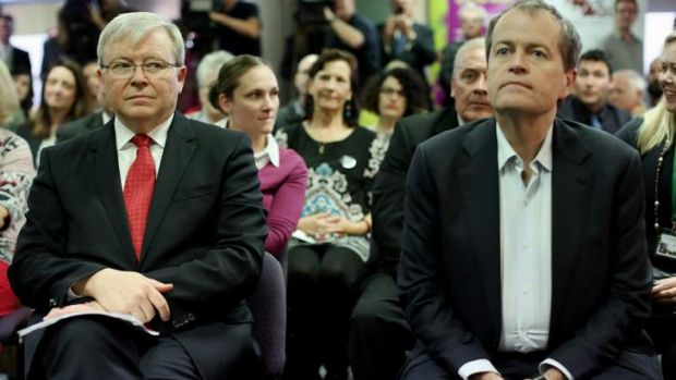 On the go: Kevin Rudd and Bill Shorten in Brisbane before Mr Rudd was to return to Canberra for a briefing on Syria.