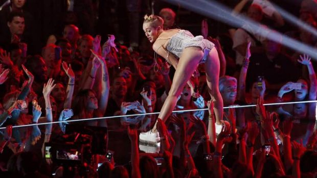Twerking hard for a living: Miley Cyrus at the MTV Awards.