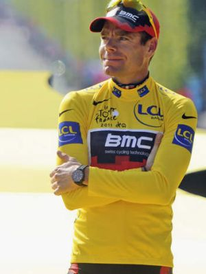 A great triomphe: Cadel Evans quietly savours his historic victory in the 2011 Tour de France.