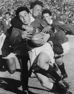 Cliff Morgan in action for the British Lions against South Africa at Johannesburg in 1955.