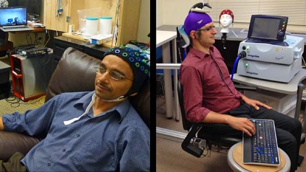 Rajesh Rao, left, plays a computer game with his mind. Across campus, researcher Andrea Stocco, right, wears a magnetic ...