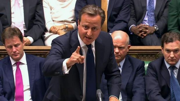 Britain's Prime Minister David Cameron addresses the House of Commons on the issue of military intervention in Syria.