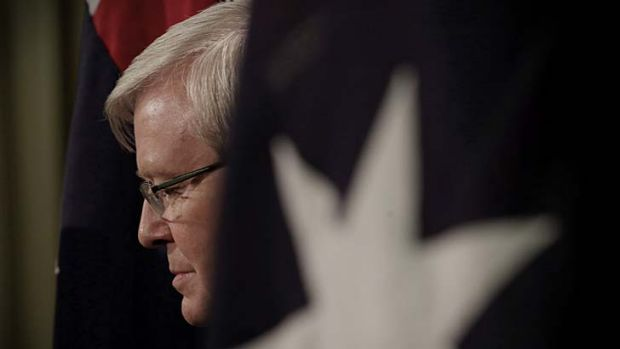 Prime Minister Kevin Rudd during a press conference in Melbourne on Thursday.