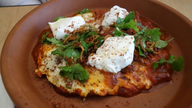 Baked eggs came in a smokey tomato sauce with mergeuz sausage, yogurt and sumac.
