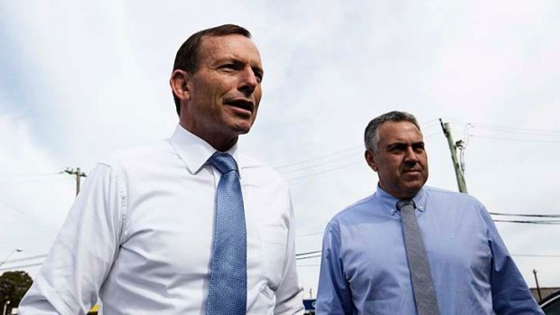 Promising a surplus in 10 years ... Tony Abbott and Joe Hockey.