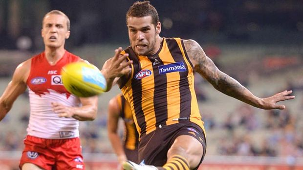Future teammates ... Sydney's Ted Richards chases Hawthorn's Lance Franklin.