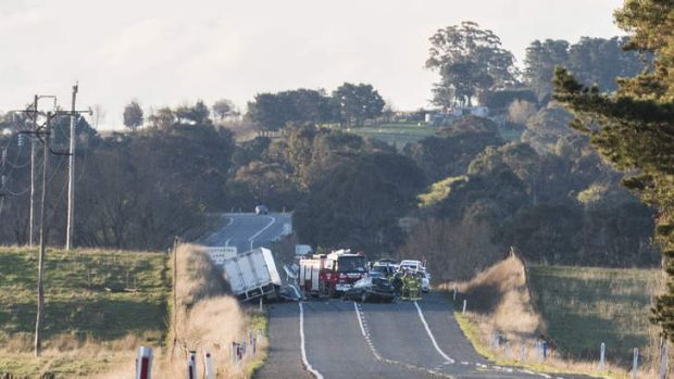 An accident on the Barton Highway about 4km past Hall has closed the road in both directions.