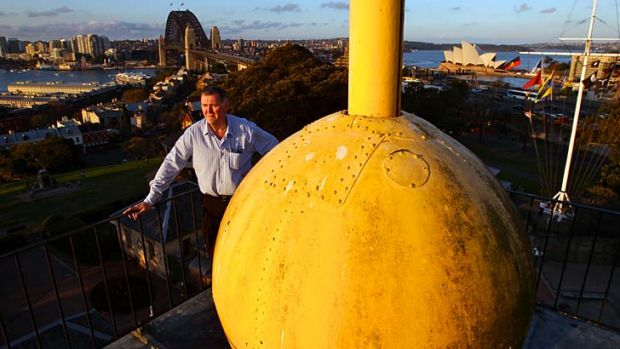 Significant: Sydney Observatory's education officer Geoffrey Wyatt with the time ball, which has dropped every day for ...