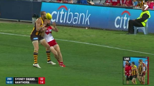 Lance Franklin clashes with Nick Malceski during Friday's round 23 match at the SCG.
