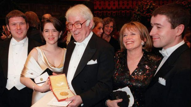 Seamus Heaney after winning the Nobel literature prize in 1995.