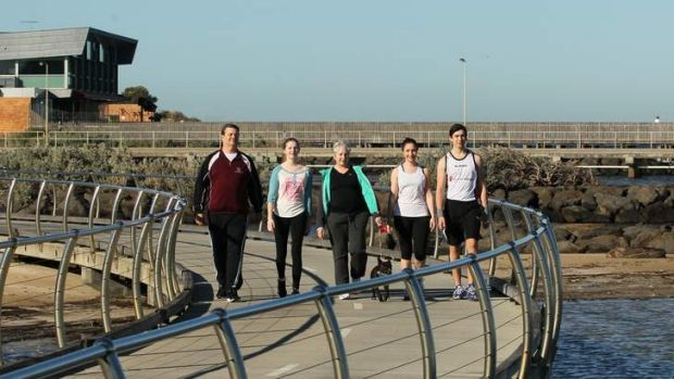 Caitlin Dent (second from right) with her family during training for the City2Sea fun run.