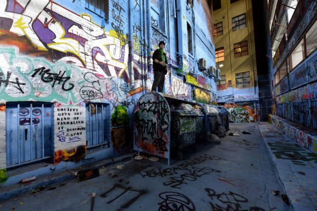 A graffiti artist works from the top of a dumpster in Rutledge Lane on August 30, 2013.