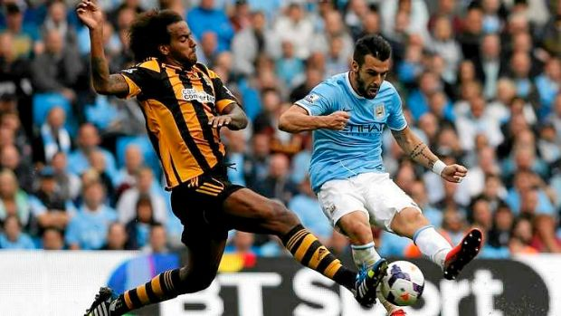 Alvaro Negredo is challenged by Hull City's Tom Huddlestone. The former Seville striker kick-started Manchester City ...
