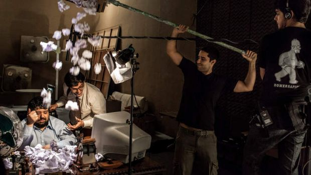 Gabriel Totoro, left, and Rafael Infante, members of the Brazilian comedy troupe, Porta dos Fundos, work on a skit in ...