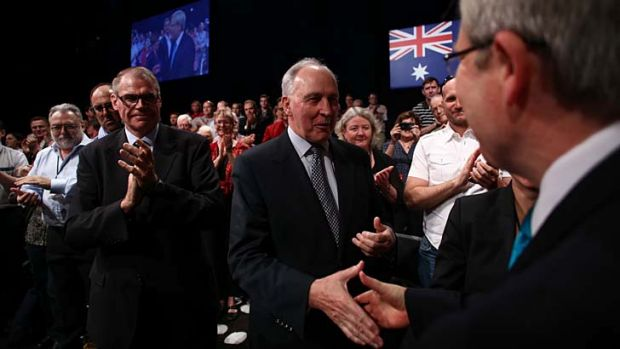 Prime Minister Kevin Rudd with Paul Keating and Senator John Faulkner at the ALP campaign launch in Brisbane on Sunday.
