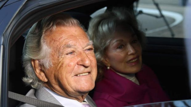 Former Australian Prime Minister Bob Hawke and his wife Blanche d'Alpuget arrive at the Australian Labor Party's ...