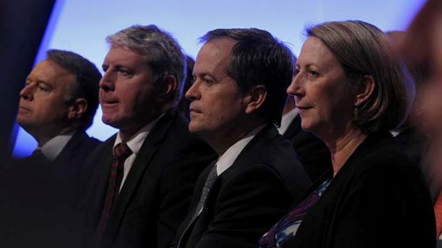 Bill Shorten (centre) listens to Prime Minister Kevin Rudd alongside Joel Fitzgibbon, Brendan O'Connor and Sharon Bird.