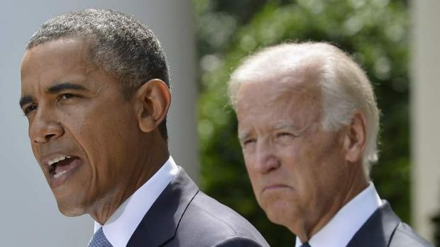 "US ""should take military action"": Barack Obama speaks about Syria next to Vice President Joe Biden at the Rose Garden of ..."