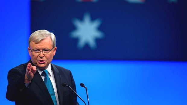 Six days to go: Kevin Rudd yields party faithful at the official launch of the Labor Party's federal campaign.