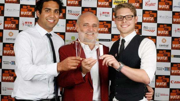 West TV's Simon Hydzik, Tibor Meszaros, Jesse Lawrence picking up the award for Best Live TV Production in the WA Screen ...