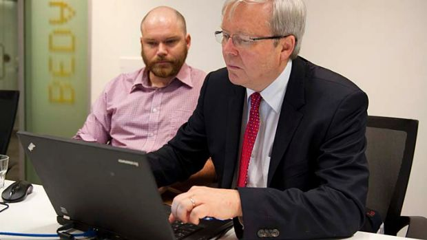 Prime Minister Kevin Rudd answers questions from the public in the brisbanetimes.com.au office as social media editor ...