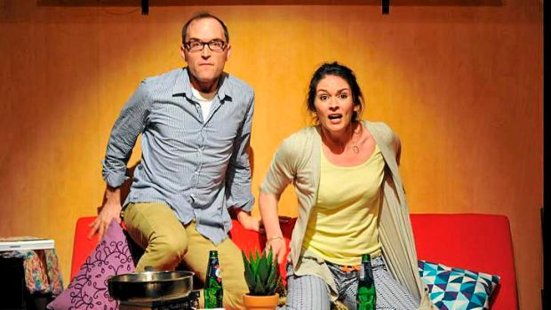 Ryan Gibson and Rosie Lockhart in Red Stitch Actors Theatre's <i>Straight</i>.