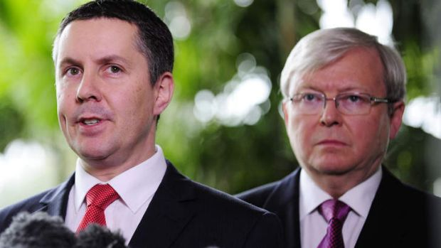 Climate Change Minister Mark Butler with Prime Minister Kevin Rudd at a media conference in July announcing a move to an ...
