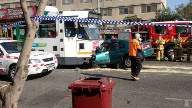 The horrific scene confronting emergency workers on Victoria Avenue in Albert Park.