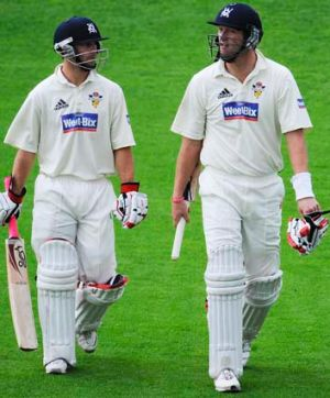 Victoria's Matthew Wade and Cameron White batting during the Sheffield Shield final, 2009.