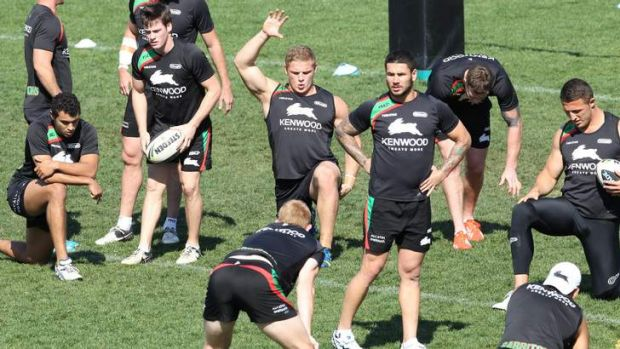 Hands up if you want to beat the Roosters: George Burgess at training on Tuesday.