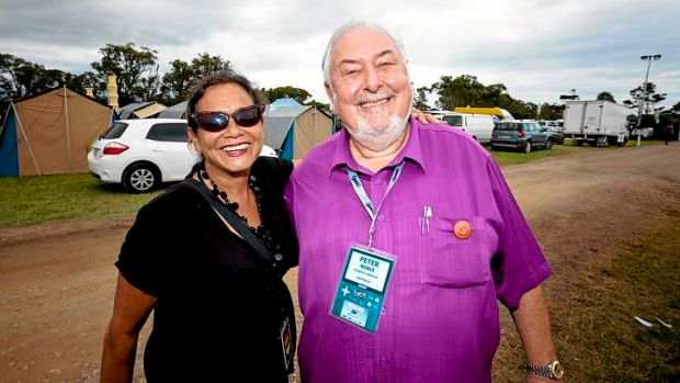 Rhoda Roberts and Peter Noble on site at Bluesfest where Boomerang was announced.