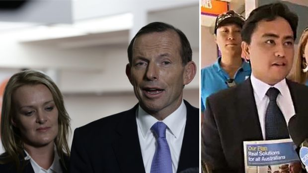 Embarrassing: Tony Abbott was forced to defend Fiona Scott, left, and Jaymes Diaz, right.